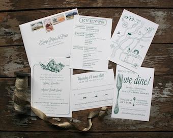 French-Inspired Mountain Wedding Invitation (Danielle Suite) - Deposit