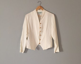 POET BLOUSE | porcelain white button down blouse | winged cropped poet top