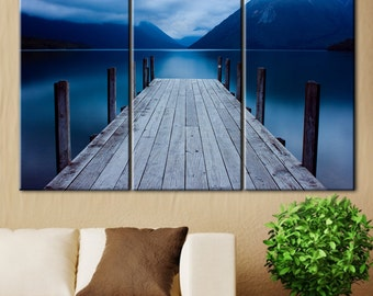 Pier, Lake office decor, wooden pier, lake pier, Mountain Lake, blue Lake, gloomy clouds, beautiful place, lake, mountain range, clouds