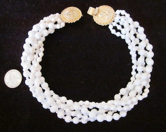 Vintage Multi-Strand Glass Bead Necklace with Queen Elizabeth II Closure