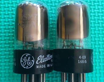 Matched Pair General Electric GE 6SN7 6SN7GTA Tubes