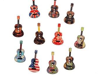10 x Wooden Guitar Buttons 26mm x 18mm