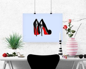 Louboutin Heels Fashion Illustration Art Poster