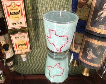 Vintage Texas Souvenir Glass with a Soy Lemon Eucalyptus Candle