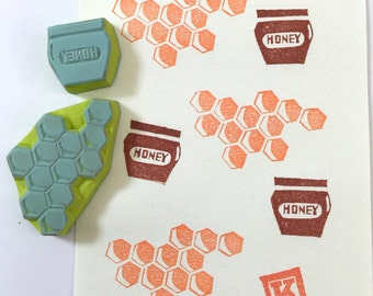 HONEY & HIVE SET - Hand Carved Rubber Stamps/Foods/Drinks