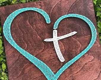 String Art Heart Cross Board - Multiple Sizes