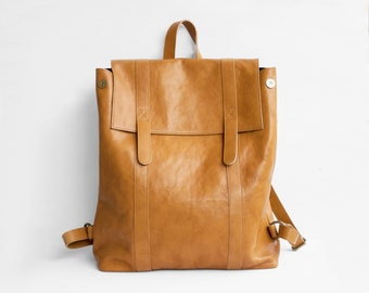 Leather Backpack in Camel Brown / Camel Leather Backpack / Leather Bag / Brown Leather Bag / Big Backpack / Brown Backpack / Unisex backpack