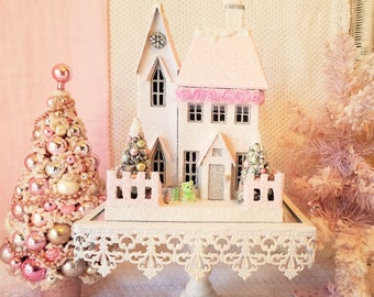 Shabby Putz House  w/ PINK ROSES, Lighted with Bottle Brush Trees