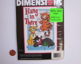 Dimensions, HANG IN THERE Cats Stamped Cross Stitch / Embroidery Kit, unopened