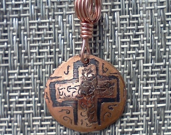 Hammered and etched copper pendant #10