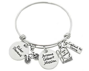Personalized Missionary Mom Bangle Bracelet - Engraved Jewelry - Expandable Wire Bangle -  LDS Missionary - Called to Serve - Mormon - 1025