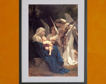 Song Of The Angels by William Adolphe Bouguereau, 1881 -8.5x11 Poster Print - also available in 13x19 - see listing details