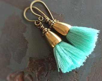 No. 015 - Mint Green Cotton Tassel Earrings with Raw Brass - Caicos