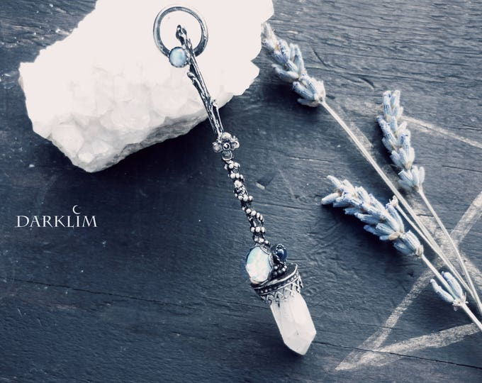 Featured listing image: Magic Broom- Sterling silver 925 witch quartz cluster opal and moonstone blue flash. Witch jewelry