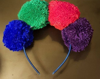 Multicoloured Pompom Headband