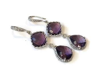 Purple Plum Amethyst Silver Teardrop Earrings
