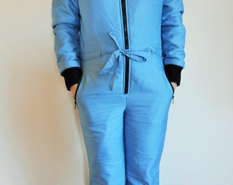 Vintage One Piece Skiing Suit / Ski / Suit / Blue / Jacket / 40 / S / Small to Medium / m / Onepiece / Skiing / Costume /