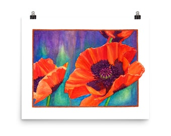 Taos Poppies Poster, watercolor poppy, poppy flower art, poppies painting, botanical poster, large print, large colorful print, flower print