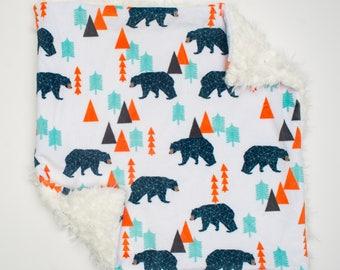 Lovey Navy Bear. Lovey. Mini Baby Blanket. Woodland Lovey. Orange Mint Navy Fur Blanket. Security Blanket. Lovie. Fur Lovey. Minky Lovey.