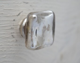 Square, Silver Mercury Glass Drawer Knobs, Drawer Pull, Cabinet Pull, Cabinet Knobs