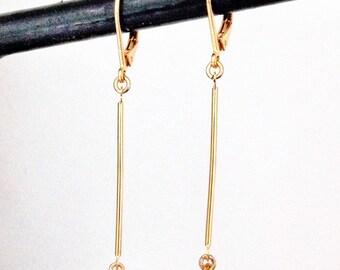 Gold Stick Earrings. Arrow Earrings. Bar Earrings. Minimalist Earrings. Long Dangle Earrings. Women's Earrings. Gift for Wife / Mother
