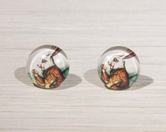 Rabbit earrings, rabbit studs, Alice in Wonderland Earrings, White Rabbit Earrings, Alice in Wonderland, Tenniel illustration