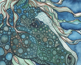 Midnight HORSE 5 x 7 print of detailed watercolour artwork in cool deep teal and aqua blue greens, seahorse, ocean, dragon, unicorn, magic