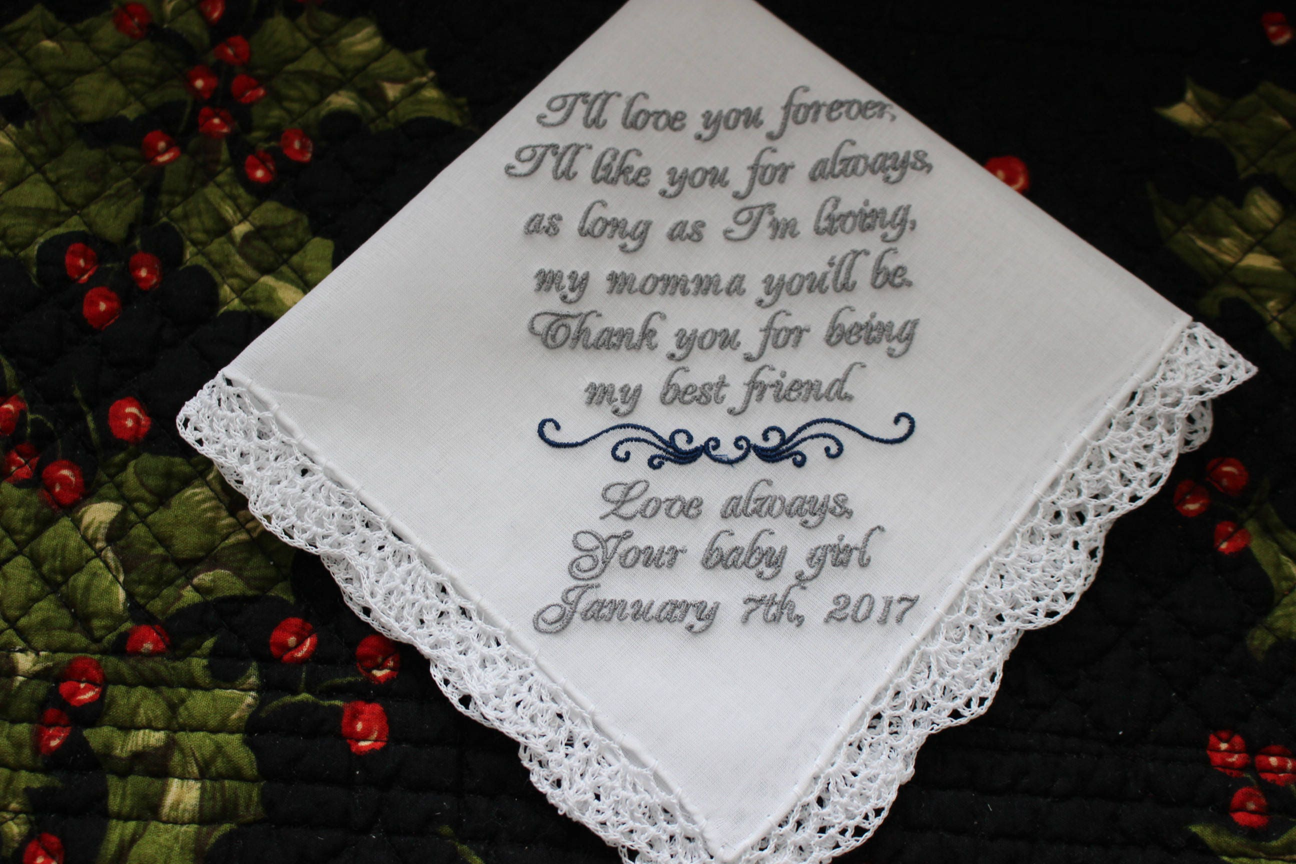 Wedding Handkerchief, Mother of the Bride Gift, Parents Wedding Gift, Embroidered  Handkerchief, Bridal Handkerchief, Love You Forever Hankie