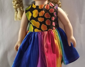 Multi-color stripe and animal spots doll dress made to fit American Girl or other similar 18 inch dolls