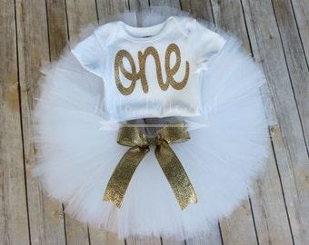 Gold first birthday bodysuit and White Tutu, Glitter gold One outfit, Girls first birthday outfit, Cake smash tutu, Gold Birthday Outfit