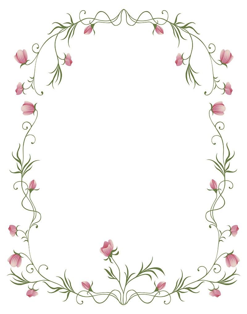 Instant Digital Download with Floral Rose Frame Vector