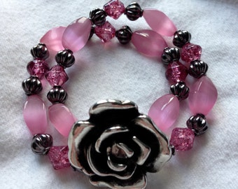 Rose Pink Beaded Bracelet with Large Rose Accent
