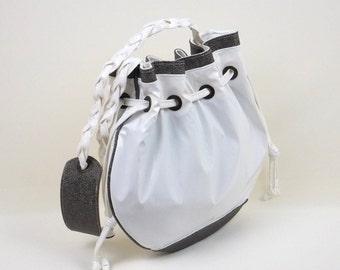 White & Grey Shoulder Bag, White Handbag, White Purse, Coulisse Fastener Shoulder Bag, Gift for Her, Sporty-Chic Handbag, MyNewHandbag, Bag