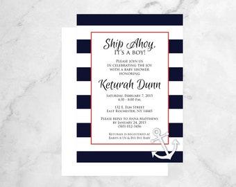 Nautical Baby Shower Invitations - Baby Shower Invitation - Ship Ahoy Baby Shower Invites - Boy Baby Shower - Anchor Shower Invitations