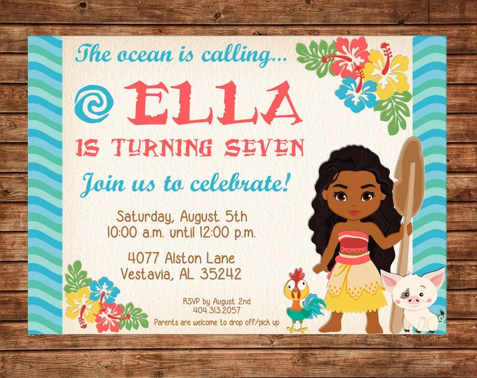 Girl Invitation Ocean Hawaiian Princess Birthday Party - Can personalize colors /wording - Printable File or Printed Cards