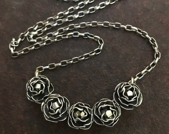 Pyrite & Sterling Silver Rose Bow Necklace