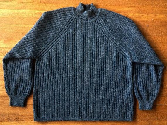 Vintage 1980s Marled Cyan Blue Wool Crewneck Sweater X5YL0P