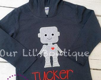 Valentine's Robot Shirt - Personalized Valentine Shirt - Boys Valentine Shirt - Valentine Robot Applique - Personalized - Robot