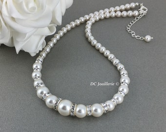 Swarovski Pearl Necklace Swarovski Necklace Bridal Neckalce Bridesmaid Gift for Mother of Groom Gift Mother of Brida Jewelry Maid of Honor
