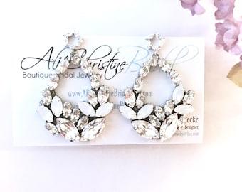 Leaf Rhinestone Statement Earrings, Chandelier Bridal Earrings, statement wedding earrings, White Opal Rhinestone Earrings VIENNA