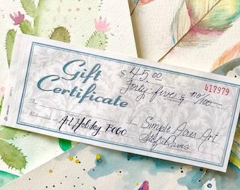 Art Gift Certificate