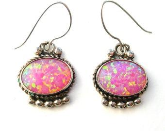 ART DECO Rose, pink opal, earrings, synthetic,silver, sterling, drop earrings, vintage