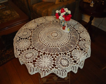 Vintage,   HAND MADE Ecru Crochet Lace, 34 inch,  Round Tablecloth, Weddings. Desert Table,Gift Table