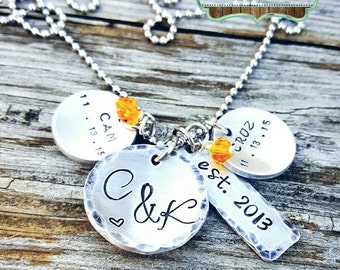 Mother's Necklace - Hand Stamped - Children's names - Marraige Anniversary Date - Birthdates - Personalized -Cluster Necklace - Sister Gift
