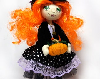 Witch doll tilde Textile doll halloween Textile doll tilde