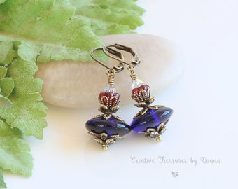 Brass Earrings, Navy Blue Lampwork Beads, Swarovski Crystals, Czech Glass Red Bell Flowers, Lotus Flowers, Gift For Her, Red White Blue