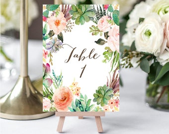 Wedding Table Numbers, Printable Table Numbers, Succulent Table Numbers, Rustic Wedding Prints, Cactus Wedding Table Numbers, Card Numbers