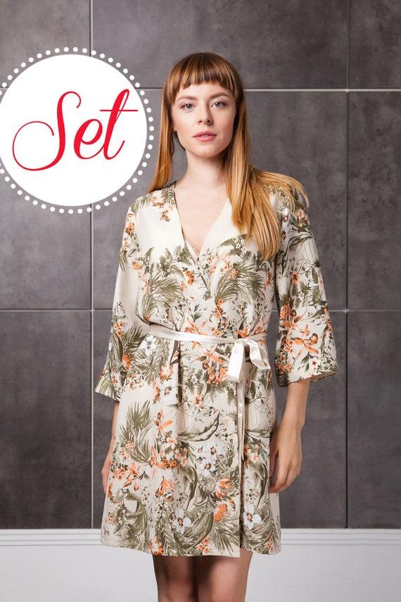 Floral Robe Creme / Floral Hausmantel / seidig Floral Kimono