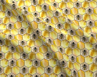 Honeycomb Fabric - Bee Cells By Marta Strausa - Hexagons Honeycomb Bees Honey Design Challenge Cotton Fabric By The Yard With Spoonflower