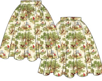 Little Red Riding Hood Mid Century Gathered Pinup Skirt